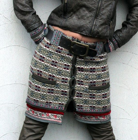 M mini skirt and fingerless gloves  hips warmer recycled sweaters on Etsy, $79.00