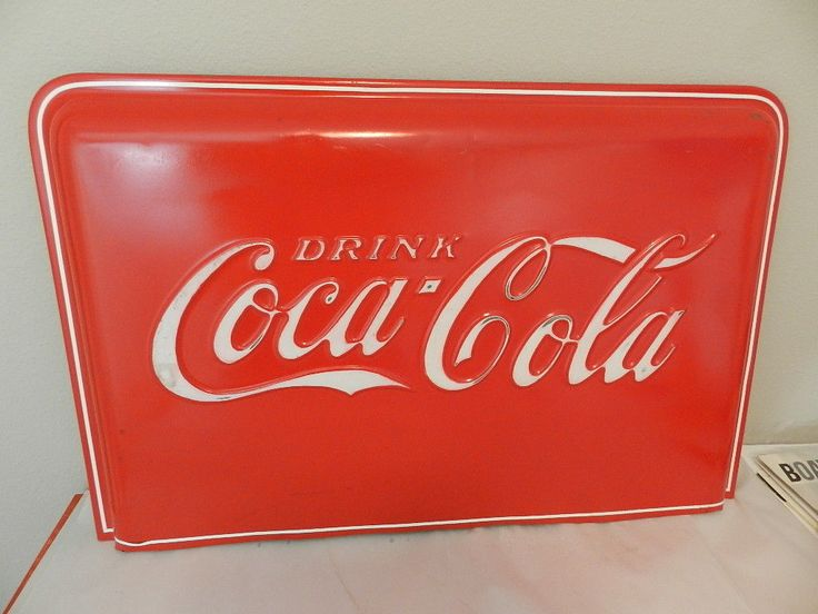 Vintage Coca-cola Sign / Slider Cooler End Cap- Vintage Drive-in- Diner Sign