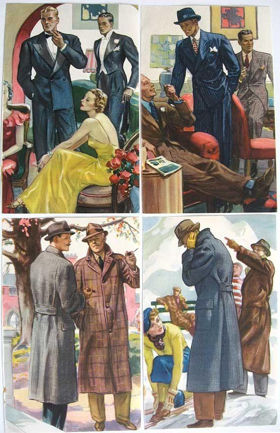 Satz 4 Jahrgang 1936-Mens Fashion-Illustrationen, Drucke, Hart, Schaffner, Marx, Mens Wear