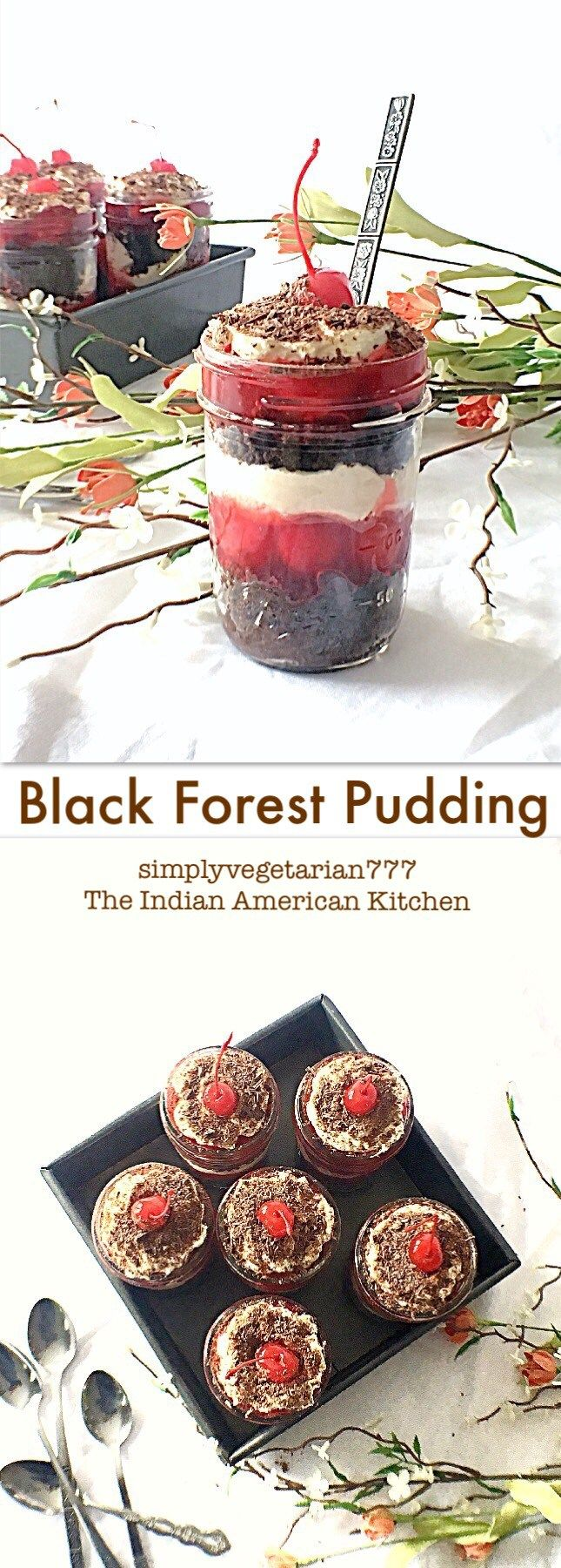 Easy Quick Black Forest Cake Recipe is a perfect Mason Jar Dessert. It is a delectable dessert for any party. It is easy, efficient recipe made with everyday ingredients. #balckforestpudding #easydessert #quickpartydessert #chocolatecake #trifle #pudding #blackforestcake