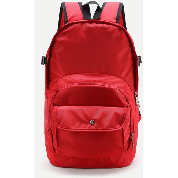 SheIn(sheinside) Pocket Front Double Handle Backpack ($22) ❤ liked on Polyvore featuring bags, backpacks, red, red backpack, knapsack bag, red canvas bag, rucksack bags and backpack bags