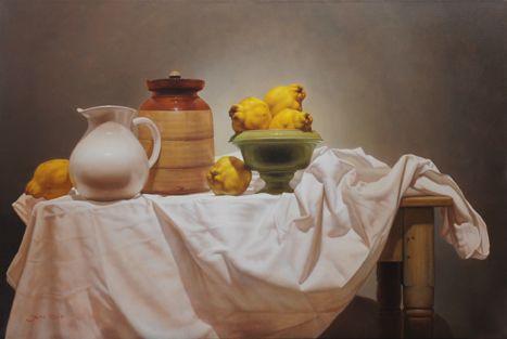 Membrillos y Jarras. Oleo sobre lienzo.  60 x 90cm. 2014.