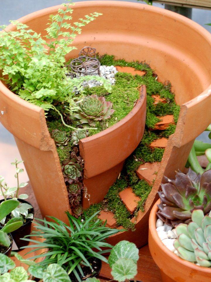 Whimsical DIY Project Transforms Broken Pots into Beautiful Fairy Gardens - My Modern Met