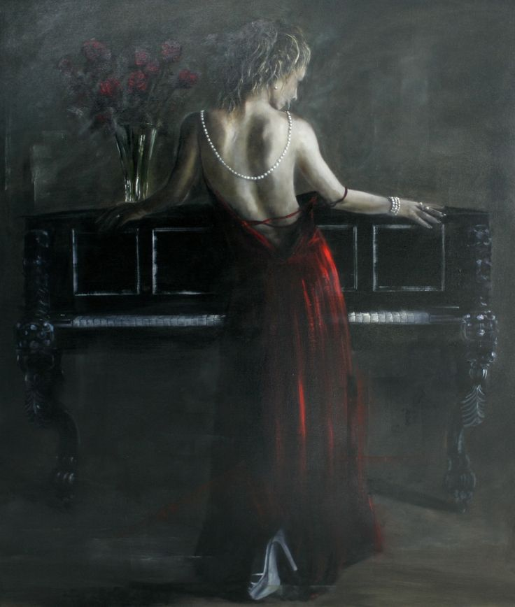 Gavin Collins oil on canvas, Scarlet desire