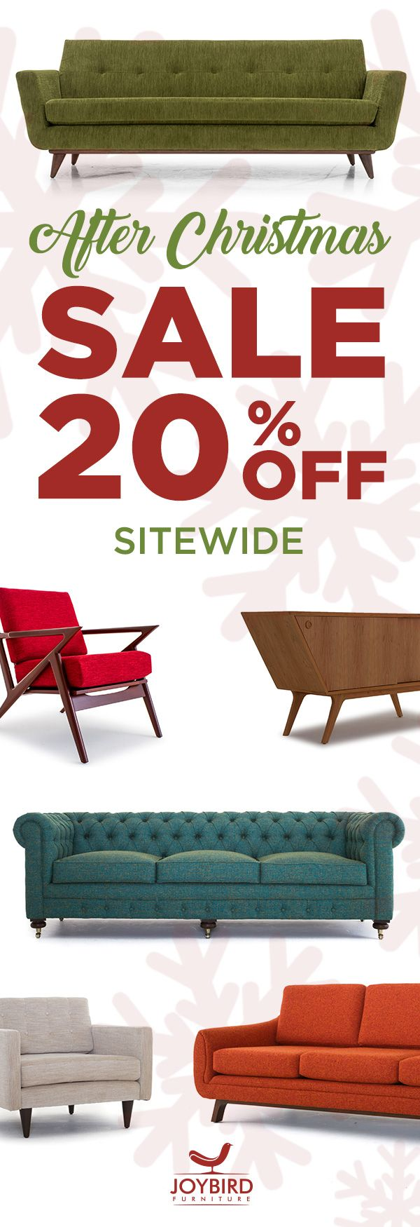 New year, new furniture. Make a statement with iconic mid-century modern furniture from Joybird. Enjoy free in-home delivery, lifetime warranty, 365-day return policy, plus 0% financing for low monthly payments. Shop Joybird now and take 20% off EVERYTHING today during their After Christmas Sale!