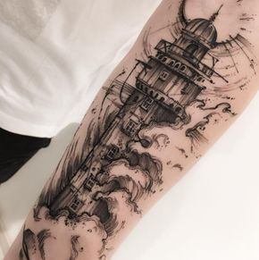 Tattoo Lighthouse in high waves - http://tattootodesign.com/tattoo-lighthouse-in-high-waves/ | #Tattoo, #Tattooed, #Tattoos