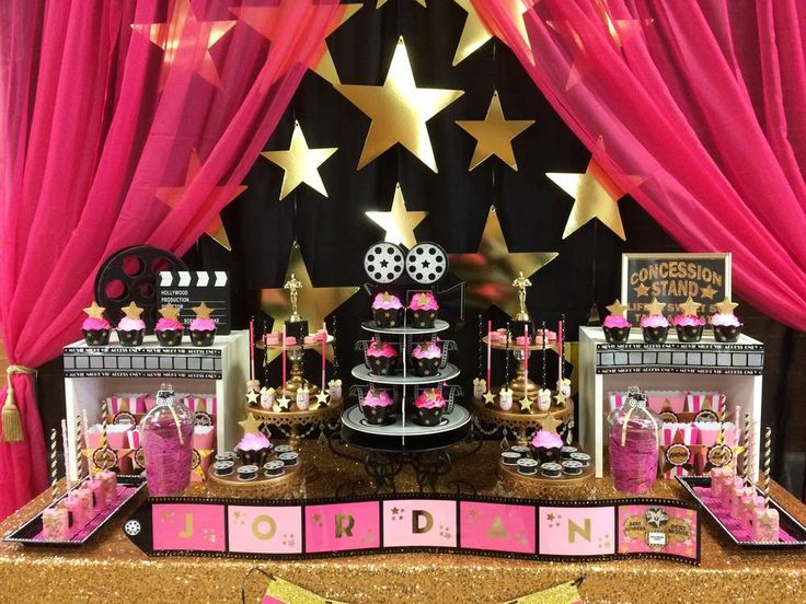 Incredible dessert table at a Hollywood birthday party! See more party planning ideas at CatchMyParty.com!