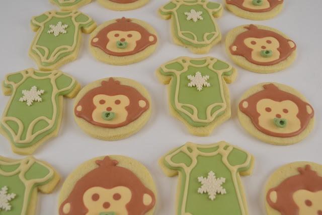 Monkey and onesie baby shower cookies!