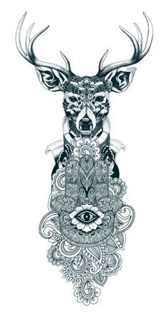 Just did a bit of photoshop layering with a few images I gathered together from the net and came up with this sort of deer/mandala combination. Need to do some shading work around the edges and add some of the other things I want and I will have the finished design that I want tattooed on my arm when I have laser removal.