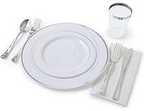 """OCCASIONS"" Full Plastic Tableware set - Wedding Disposable Plastic Plates, Plastic silverware, Silver rimmed tumblers and 3 ply Paper Napkins (Settings for 40 guests)"