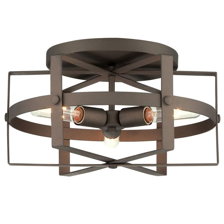 Reel Ceiling Light features a hand-worked recycled steel body with a Rustic Bronze finish. Three 100 watt, 120 volt A19 medium base incandescent bulbs are required, but not included. 16.5 inch width x 8.5 inch height.