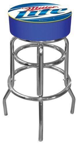 Trademark Miller Lite logo padded bar stool by Trademark Global. Save 19 Off!. $81.20. adjustable levelers. Chrome plated double rung base. Great for gifts and recreation decor. Officially Licensed logo. 7.5 in X 14.75 in diameter padded commercial grade vinyl seat. The officially licensed Miller Lite logo padded bar stool will be the highlight of your bar and gameroom. A 30-inch high bar stool great for bar pub table and bars. Great for gifts and recreation decor.