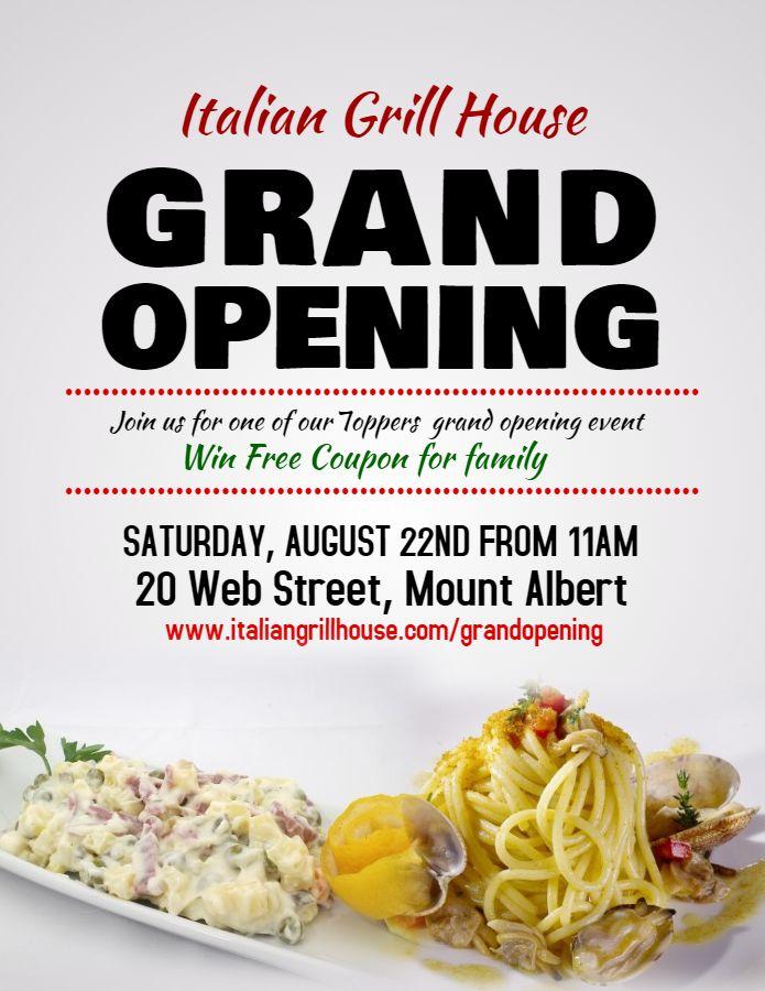 Restaurant Italian Cuisine Grand Opening Event Flyer Poster Social