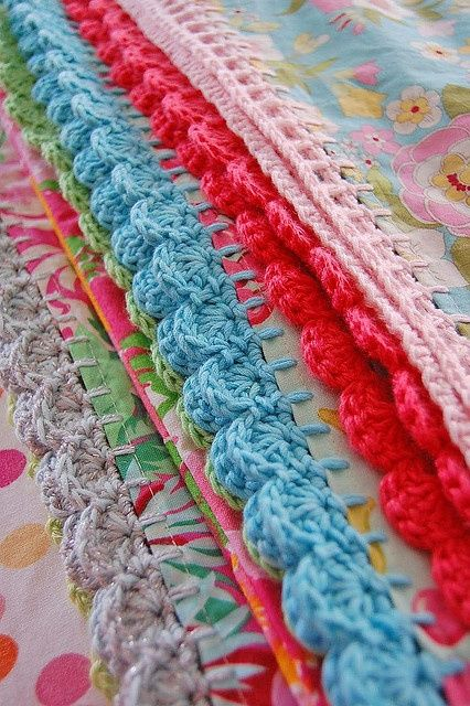 crocheted edgings... great for baby   http://cute-blankets.blogspot.com