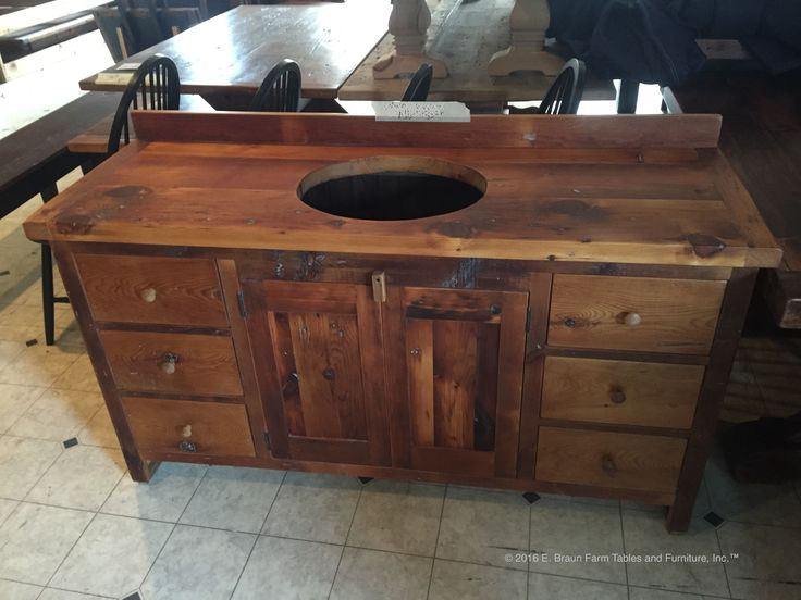 Custom One Sink Vanity Handcrafted Of Reclaimed Antique Barn Wood, In The  Heart Of