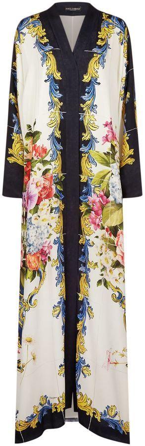 Dolce & Gabbana Floral Print Silk Abaya