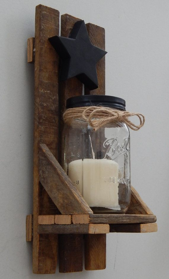 Welcome to R-Family Workshop and thank you for looking at the Tobacco Stick Mason Jar Candle Holder. This item is handmade to order using authentic tobacco lath wood and would be a perfect addition in any country/rustic themed home. The beauty of reclaimed wood lies in each pieces subtle differences and imperfections such as cracks, knots, and holes. Because of these differences, each handmade item will vary slightly in appearance/color/size and guarantee that you receive a tru...