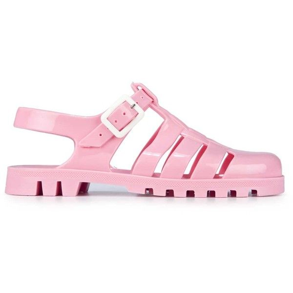 JuJu Sandals ❤ liked on Polyvore featuring shoes, sandals, jellies, pink, pink sandals, juju, pink jelly shoes, juju shoes and jelly sandals