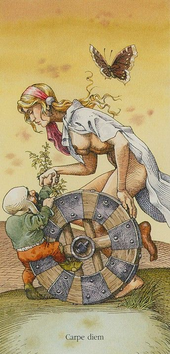 The presence of the Wheel of Fortune in a spread indicates that it is important to let things run their natural course.  {Wheel of fortune - LA ROUE - X - DURER.}