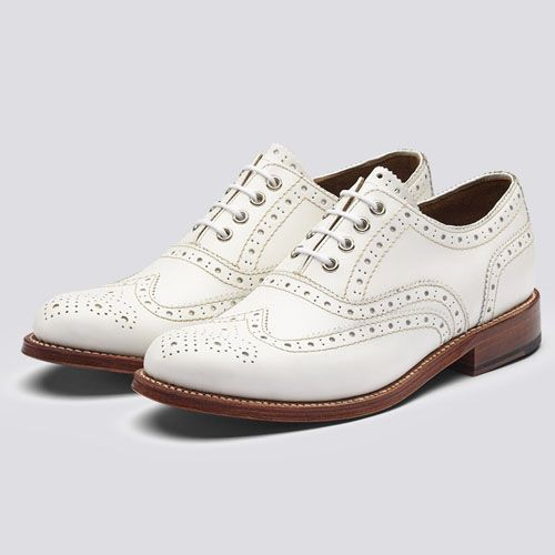Grenson Shoes Rose Brogues Calf Leather White : SUNSETSTAR