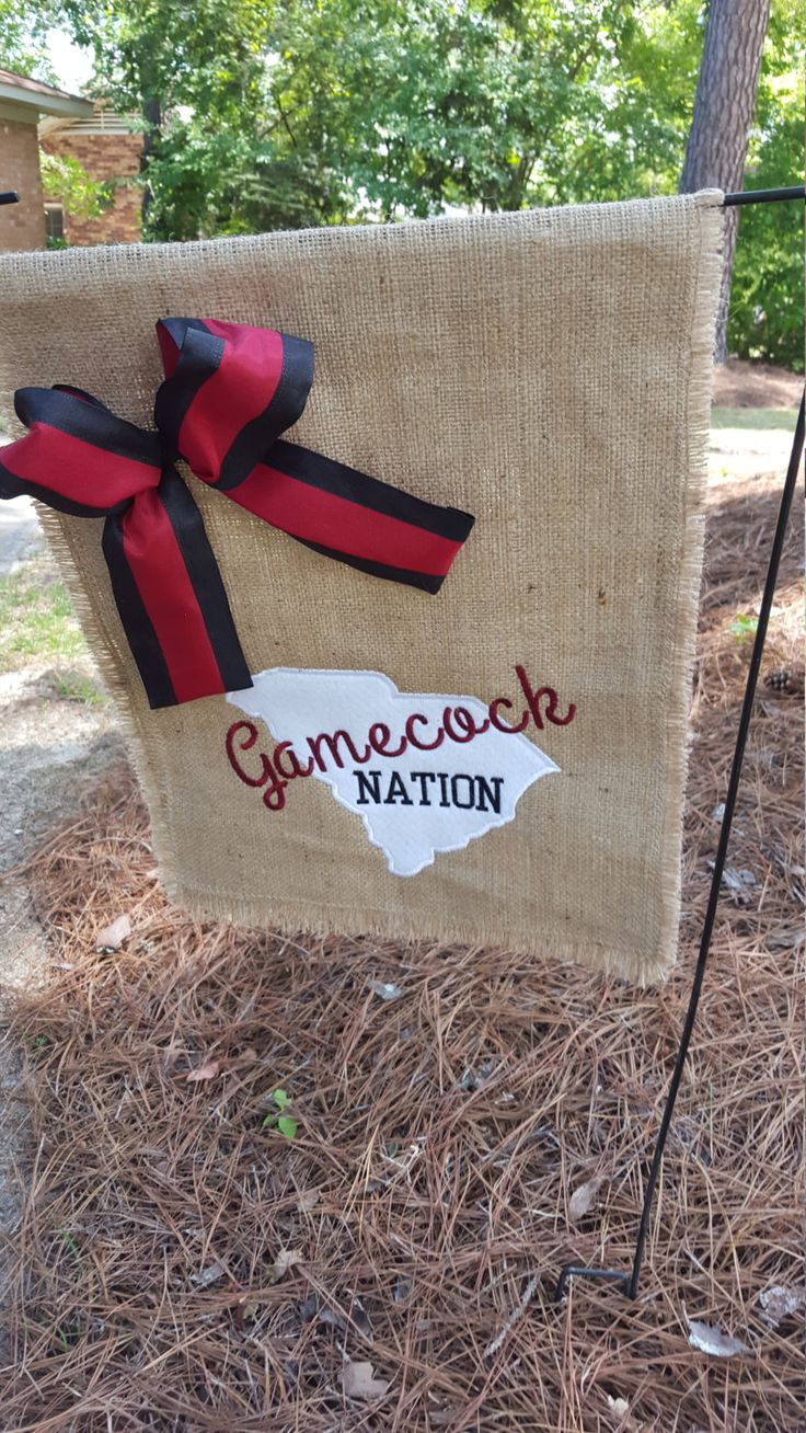 Garden Flag, Burlap Flag, Burlap Garden Flag, Gamecock Nation Flag, SC Flag, Welcome Flag, Tailgate Flag, Gift for Gamecock, Tailgating by Marijeans on Etsy