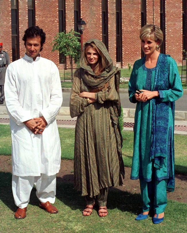 Diana with Imran and Jemima Khan in Pakistan. They have since divorced. Along with going there for a charitable endeavor, Diana involved with Dr. Hasnat Khan, a Pakistani with family there, sought insight and advice from Jemima, a non-Muslim on her experiences of marrying into the Muslim culture and living abroad.