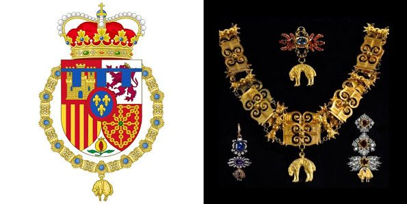 The Order of the Golden Fleece (Orden del Toisón de Oro) was found in 1430 by Philip III, Duke of Burgundy to mark his marriage to Isabella of Portugal. In previous centuries, it was traditionally given to the Prince of Asturias, heir to the Spanish throne.