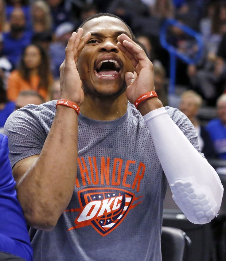 Oklahoma City's Russell Westbrook (0) yells encouragement to his teammates from the bench in the fourth quarter of an NBA basketball game between the Oklahoma City Thunder and the Miami Heat at Chesapeake Energy Arena in Oklahoma City, Monday, Nov. 7, 2016. Oklahoma City won 97-85. Photo by Nate Billings, The Oklahoman