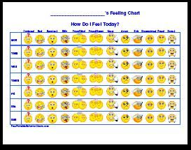 Feeling Charts. What a great way to get your kid used to tracking and recognizing their feelings throughout the day, and helpful also for my work kids going through medication changes.