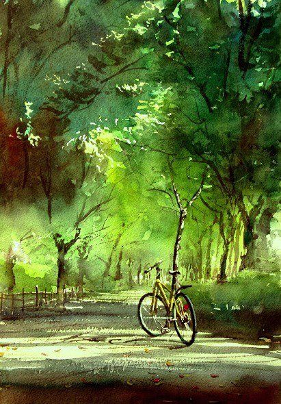watercolor by Japanese artist Kazuo Kasai  Forest Bathing Road