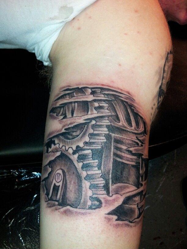 Biomechanical gears tattoo   Tattoos by Moe   Pinterest