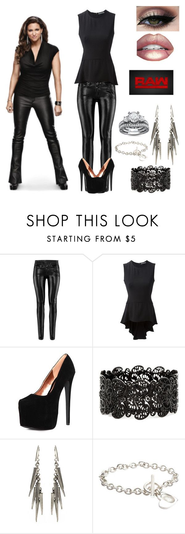 """""""WWE Stephanie McMahon~Raw Commish"""" by queenreigns-916 ❤ liked on Polyvore featuring H&M, Alexander McQueen, Ben-Amun, FingerPrint Jewellry, WWE and Balmi"""