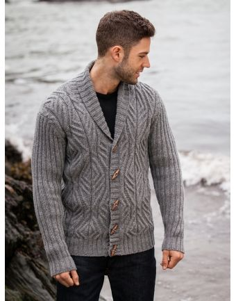 ARAN - Cabled Shawl Collar Cardigan with Ribbed Sleeves