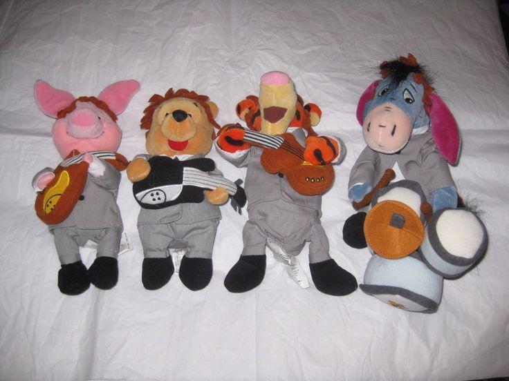Disney Beatles Band 1964 Set Of 4 Mini Bean Bags Pooh Tigger Piglet Eeyore