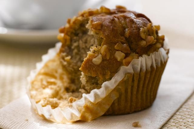 This prize-winning pear muffin recipe makes a small batch of super delicious moist muffins. The batter is made with yogurt, spiced with cinnamon and ginger.
