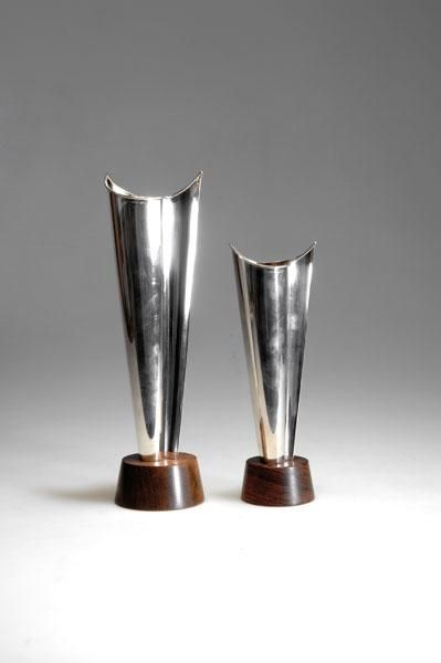 Tapio Wirkkala. Silver and Rosewood 'TW 228' Vases for Kultakeskus Oy, 1960s.
