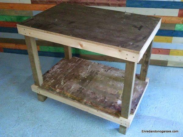Una mesa de trabajo de madera para nuestro taller hazla - Mesa de taller ...