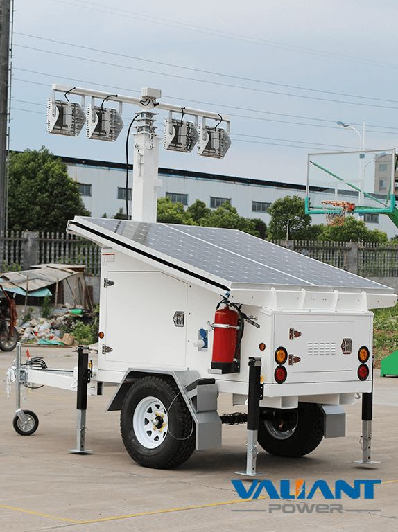 Mobile Solar Light Tower VTS1200A-L Product Feature: 1. 4*325W solar panels 2. 4*200Ah/6*150Ah/ 8*150Ah gel batteries,DC24V/48V system 3. 4*50W/4*100W/6*100W LED light 4. Optional 6 to 9 meters manual/electric/ hydraulic mast 5. Single axle solar light tower with Australia/ Europe/North America standard