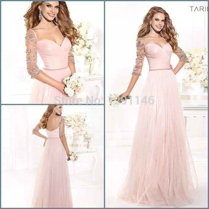 nueva moda vestido de novia de tul rosa una línea de vestidos de fiesta con mangas mujer 2014 vestidos de en de en Aliexpress.com
