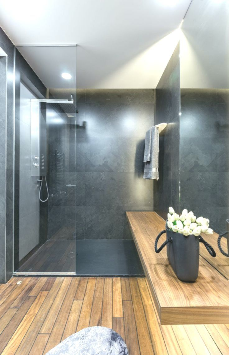Graue Einrichtung Badezimmer Fashionable Holz Dusche Glaswand Innendesign Bathroom Wallpaper Marble Bathroom Elegant Bathroom