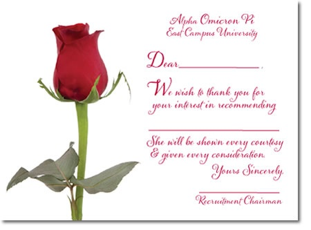 Alpha Omicron Pi Recommendation Acknowledgement - Thank you card - thank you letters for recommendation