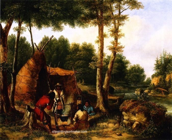 Cornelius Krieghoff Indian Encampment by a River, painting Authorized official website