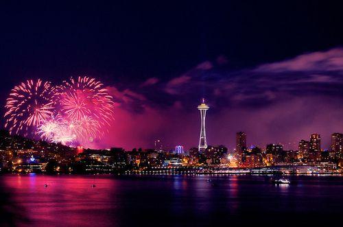 Seattle on the 4th...: Bright Cities, Favorite Places, Seattle Landscape, Landscape Pink, Beautiful Purple, Start Posts, Purple Haze, Cities Lights, Seattle Washington