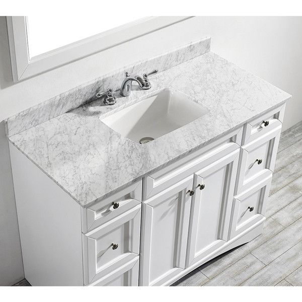 Vinnova Naples 48 Inch Single Vanity In White With Carrera White Marble Top Mirrorless Diy