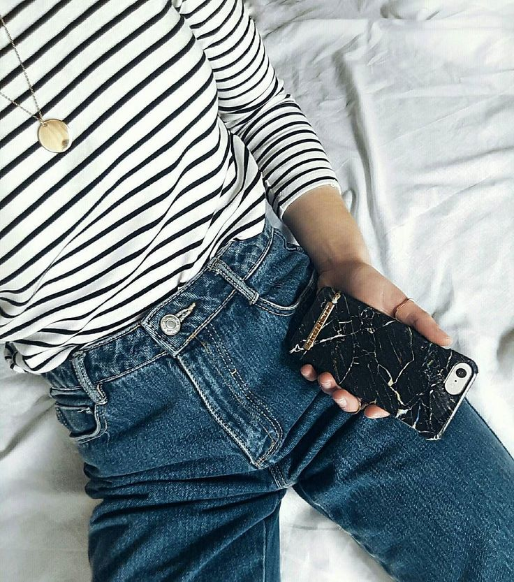 Fashion, Comfy, iDeal Of Sweden, Case, Blue Jeans, Port Laurent Marble, Marble, Stripped Tee, On point