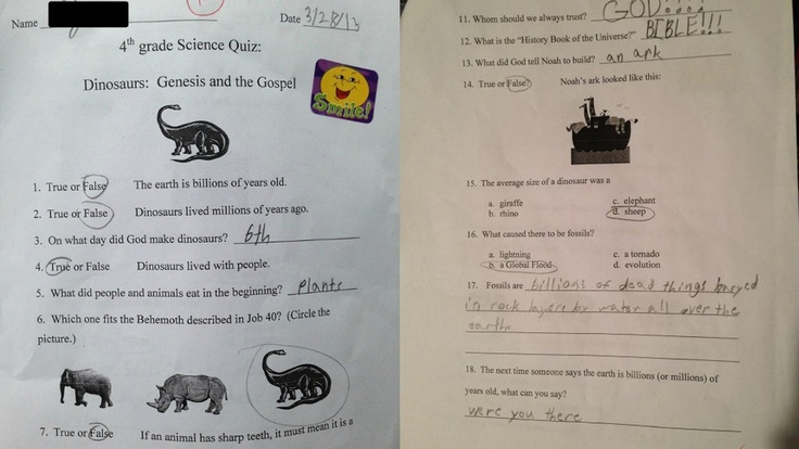 Dad Mad at School for Teaching Young Earth Creationism as 'Science' ~ I can't believe the questions on this test.