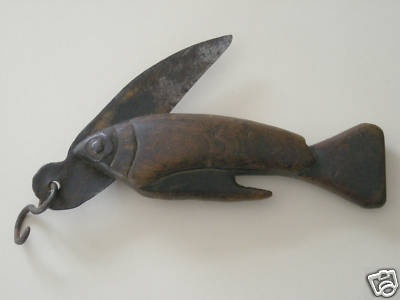 Rare Antique Hand Carved Fishing Knife W Fish Handle