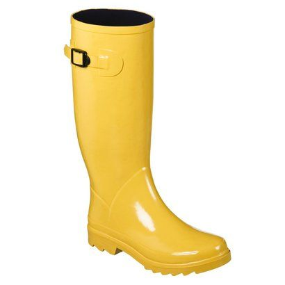 yellow rain boots are just the ticket for portland winter.