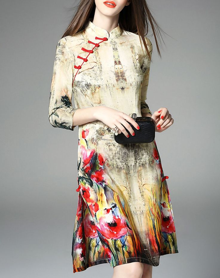 Printed Slit Silk Midi Dress, Beige, Elenyun | VIPme