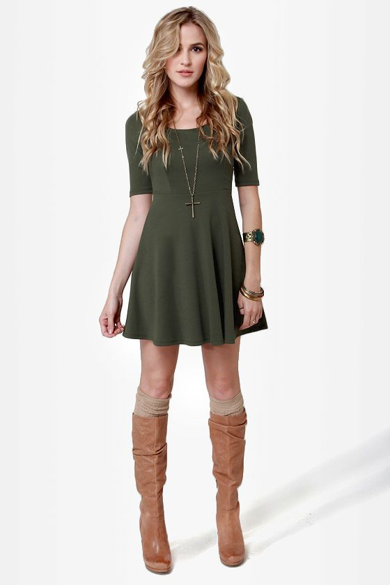 Cute Olive Green Dress...me likey this outfit!! Though I'd perhaps wear my black combat boots instead